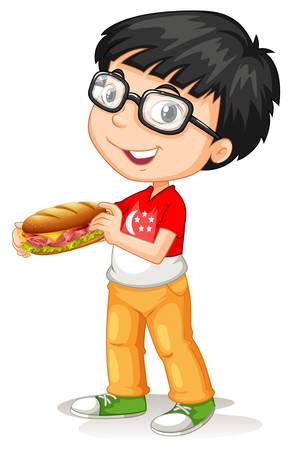 eating food: Little boy holding sandwiches illustration