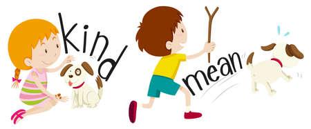 kind: Opposite adjective kind and mean illustration