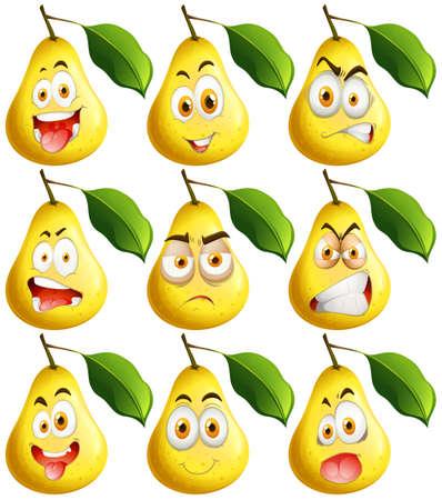 emociones: Pera fresca con expresiones faciales ilustración Vectores