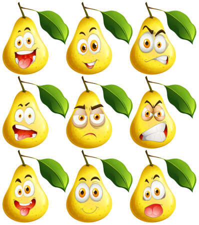 Fresh pear with facial expressions illustration Vettoriali