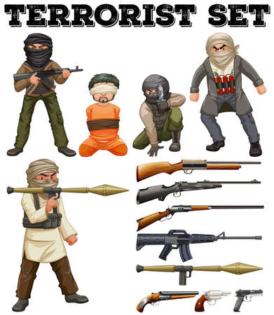 hostage: Terrorists and weapon set illustration