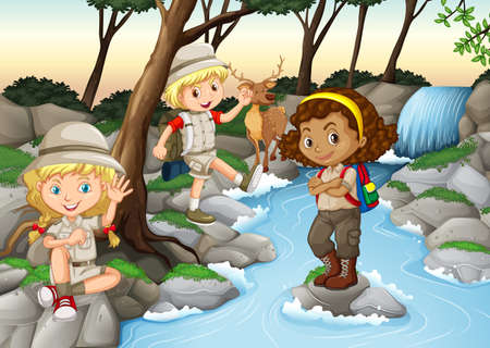 scouts: Children having fun at the waterfall illustration Illustration