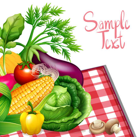 cabbage: Fresh vegetables with sample text illustration