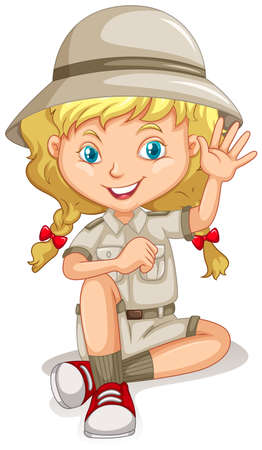 scout: Little girl in scout uniform illustration Illustration