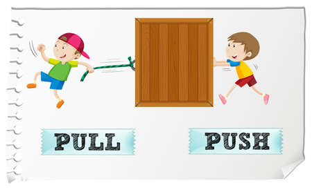 Opposite adjectives pull and push illustration Çizim