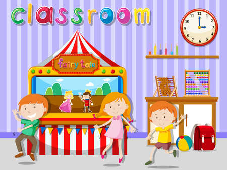 children art: Children playing in the classroom illustration