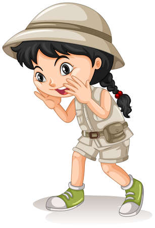 shouting: Little girl in camping outfit shouting illustration