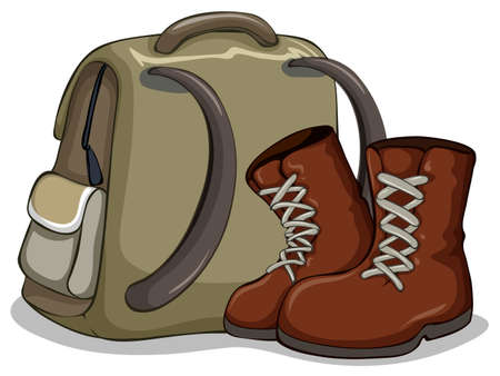 Camping bag and boots illustration