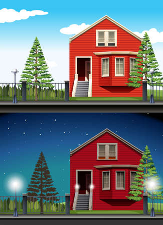 private: Scene of private house day and night illustration