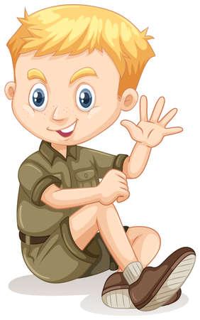 campamento: Niño pequeño en equipo de campamento ilustración agitando Vectores