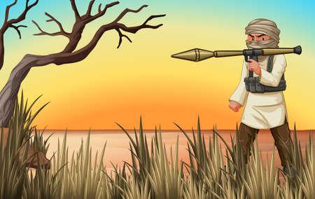 Terrorist with gun in the field illustration