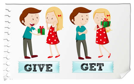 giving gift: Action verbs give and get illustration Illustration