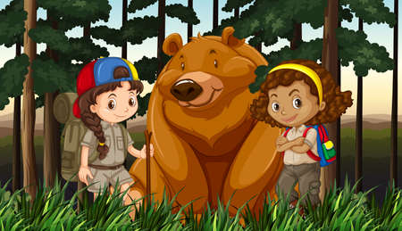 zoo youth: Girls and grizzly bear in the jungle illustration