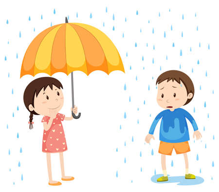 rain wet: Girl and boy in the rain illustration