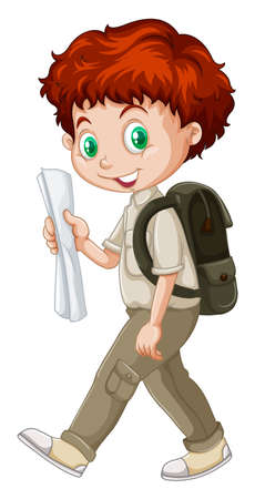 Boy walking with a map in hand illustration