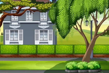 home and garden: Luxury house by the park illustration