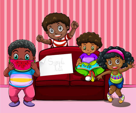 african girls: African american children in living room illustration