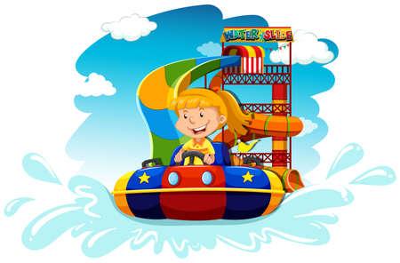 water slide: Girl riding on water slide illustration