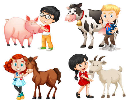 wild living: Boys and girls with farm animals illustration