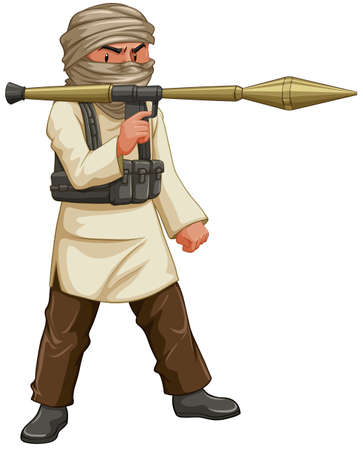 islam: Terrorist with bazooka and bullet pack illustration