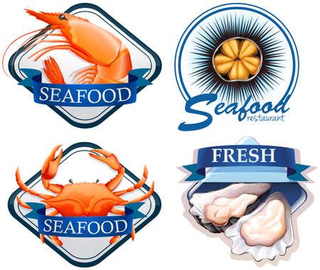 fresh seafood: Food with fresh seafood illustration