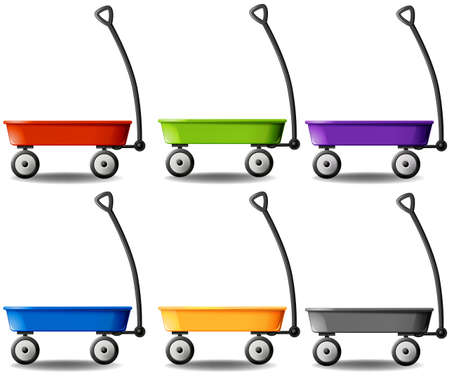 pull toy: Vagones en diferentes colores Ilustraci�n