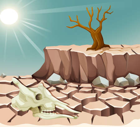dry: Dry land with animal skull and tree illustration Illustration