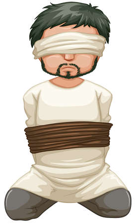 beheading: Victim being blind folded illustration