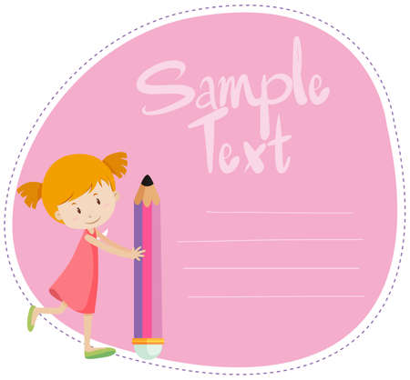 note board: Border design with girl and pencil illustration Illustration