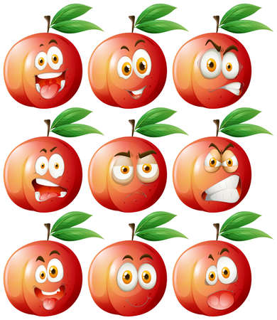 green face: Peach with facial expressions illustration Illustration