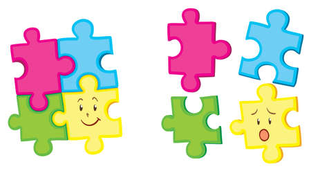 apart: Jigsaw pieces together and apart illustration