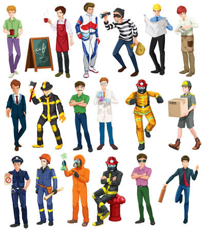 theif: People doing different occupations illustration