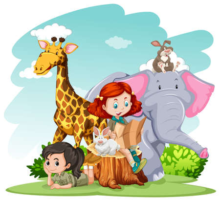 zoo youth: Girls and wild animals illustration