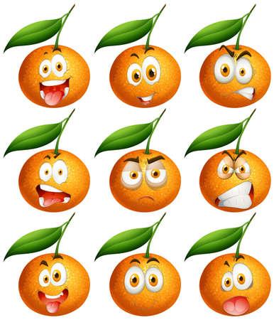 expresiones faciales: Naranjas frescas con las expresiones faciales ilustración Vectores