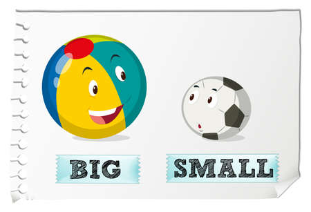 Opposite adjectives big and small illustration
