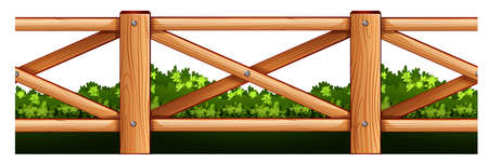 fence: Wooden fence and bush illustration Illustration