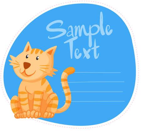 ginger cat: Border design with ginger cat illustration