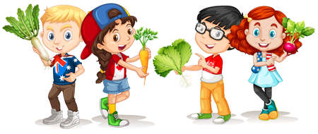 niños sonriendo: Niños que sostienen la ilustración hortalizas frescas