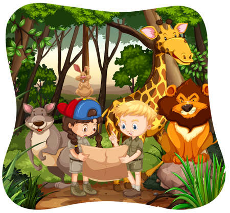 zoo youth: Children and wild animals in jungle illustration Illustration