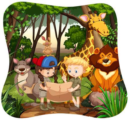 child drawing: Children and wild animals in jungle illustration Illustration