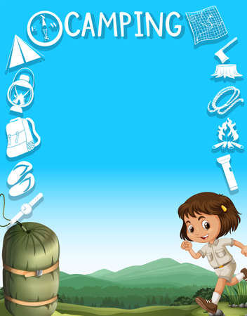 small tools: Border design with girl and camping tools illustration