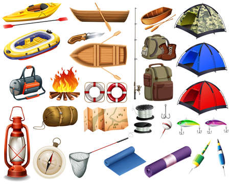 Camping gears and boats illustration