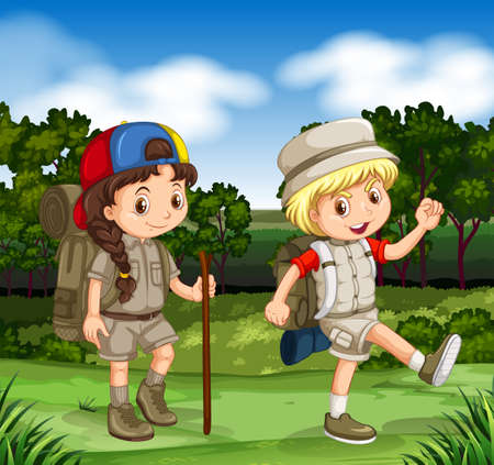 hiking: Boy and girl hiking in the park illustration