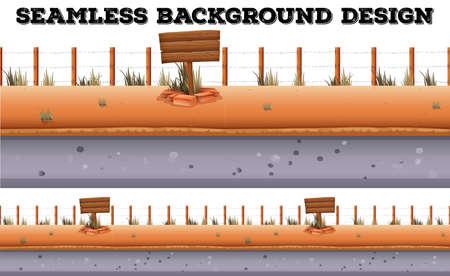 sidewalk: Seamless background design with fence and sidewalk illustration