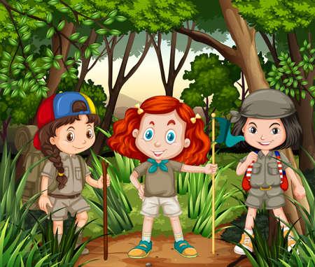 hiking: Three girls hiking in the jungle illustration