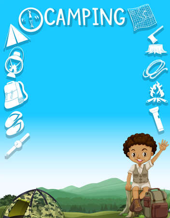 camping site: Border design with boy and camping site illustration Illustration