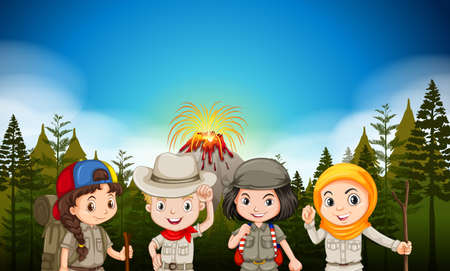 hiking: Children in hiking outfit by the volcano illustration Illustration