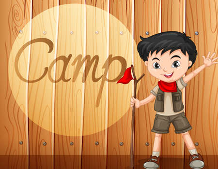 walking stick: Boy in camping costume with walking stick illustration Illustration