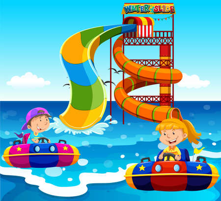 water slide: Boy and girl riding on water slide in the ocean illustration