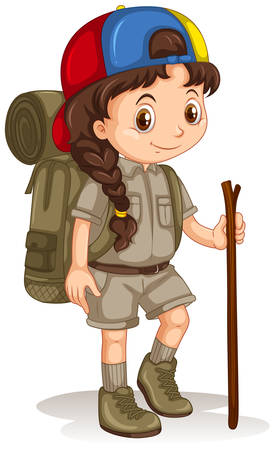 walking stick: Girl with backpack and walking stick illustration